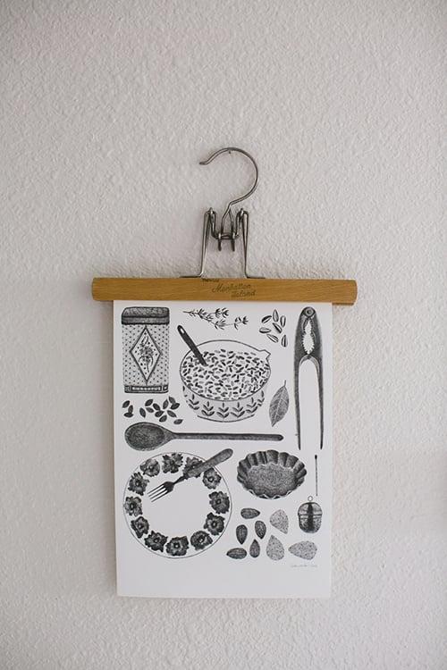 hang art prints or photos using an old pants hanger (via Apartment Therapy)