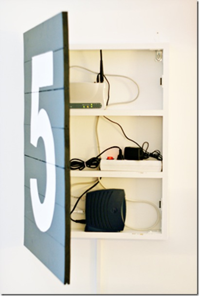 hinged wood sign to cover shelf with router and cords in it (mammamekko)