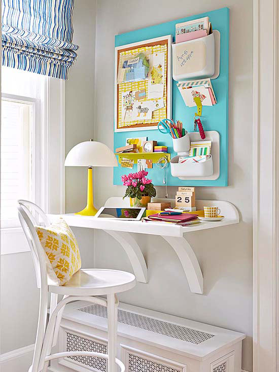 home office corner with wall desk (BHG)