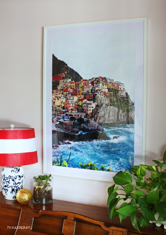 DIY Large Wall Art Ideas: how to adjust the mat on an IKEA ribba frame to fit an engineer print (Hi SugarPlum)