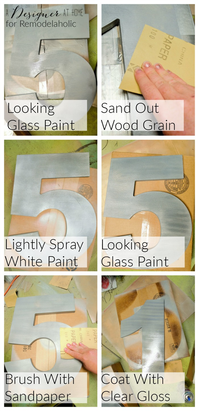how to create a brushed nickel finish on wood numbers