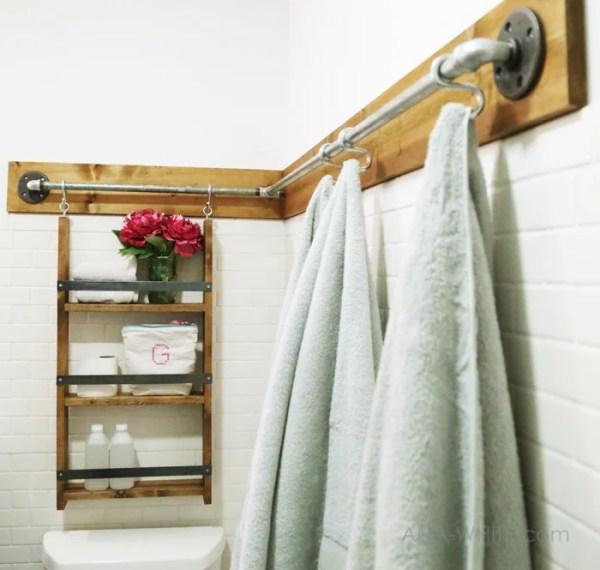 industrial rail bathroom organizer (Ana White)