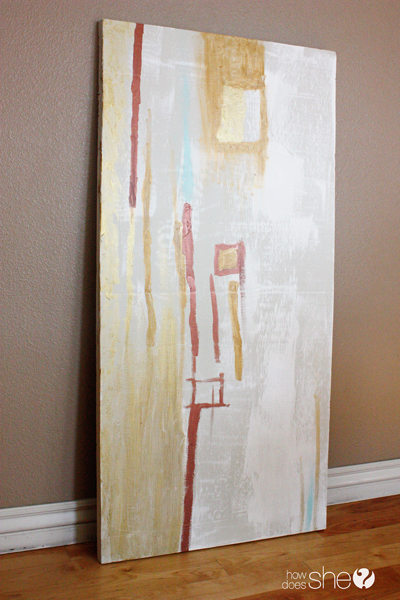 DIY Wall Decor Idea: large abstract DIY wall art painted on insulation foam (How Does She)