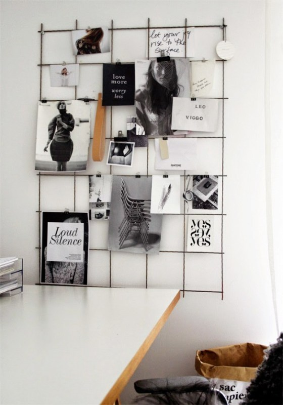 metal grid and binder clips to hold notes, art prints, and photos (My Domaine)