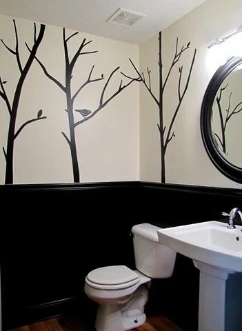 painted black beadboard, bathroom wainscot