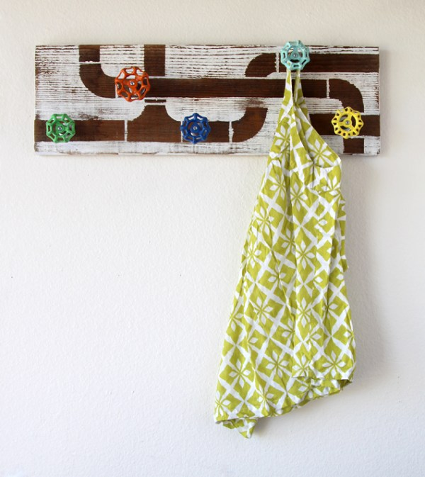 plumbing coat rack with repurposed faucet handles and reclaimed wood (A Piece of Rainbow)