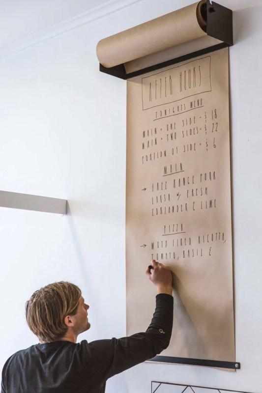 wall mounted paper roll dispenser for message center (Design Milk)