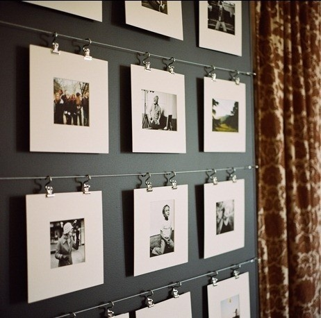 wire and clips gallery wall for matted photos (via Cape 27 Blog)