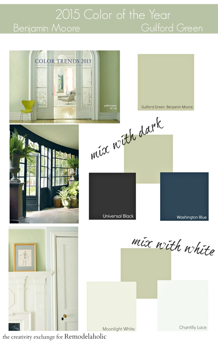 2015 Paint Color of the Year Benjamin Moore Guilford Green. A lovely shade of green that mixes well with dark colors and whites.