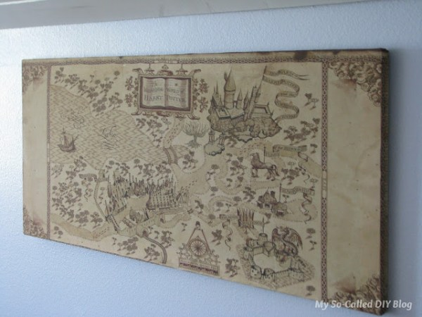 DIY wall art - easy fabric Harry Potter map canvas My So Called DIY Blog