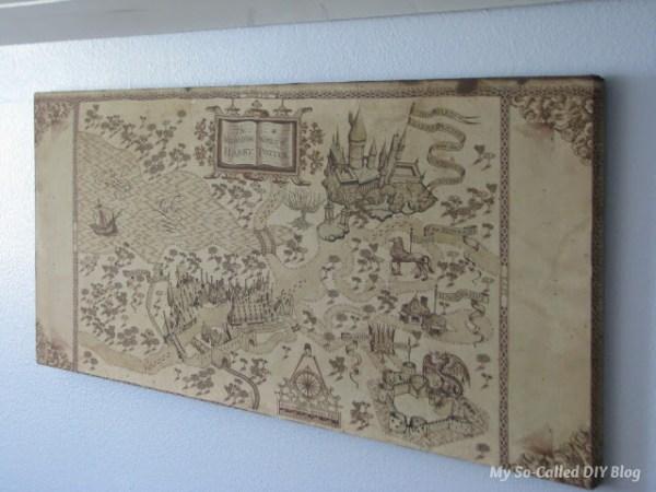 DIY wall art - easy fabric Harry Potter map canvas My So Called DIY Blog