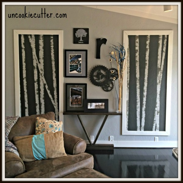 DIY wall art - oversized birch tree painting on wall Uncookie Cutter