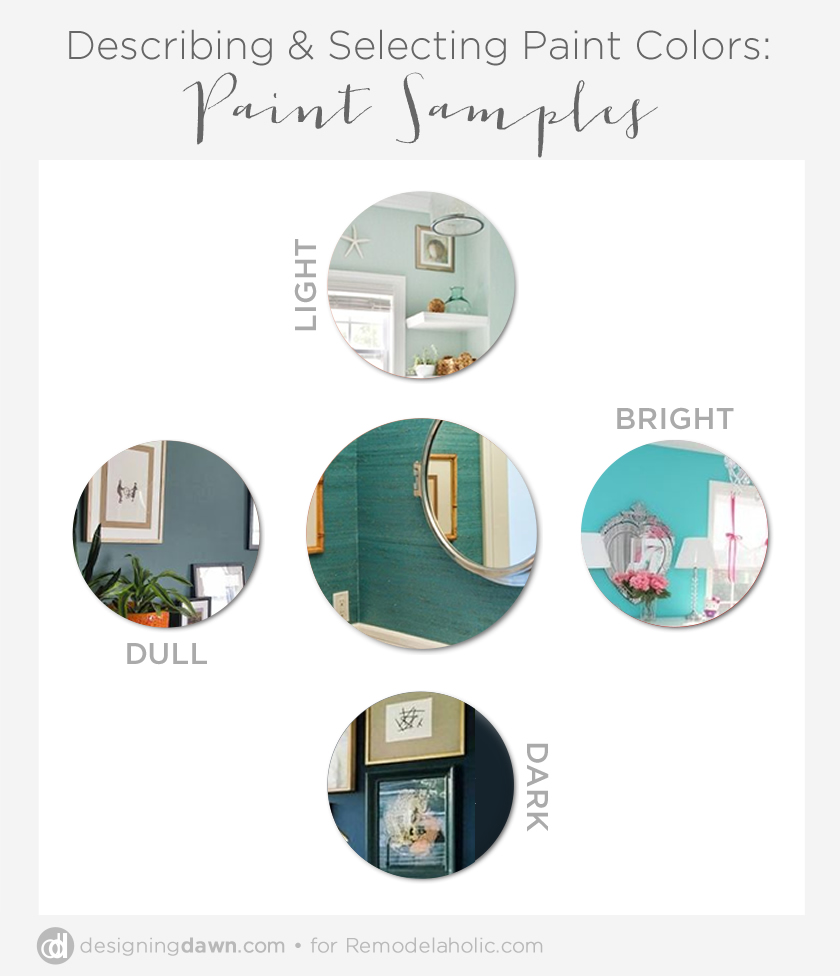 Describing Color: Turquoise walls that are light, bright, dull, and dark. This is a great guide for describing color so everyone in a home decor project is on the same page!