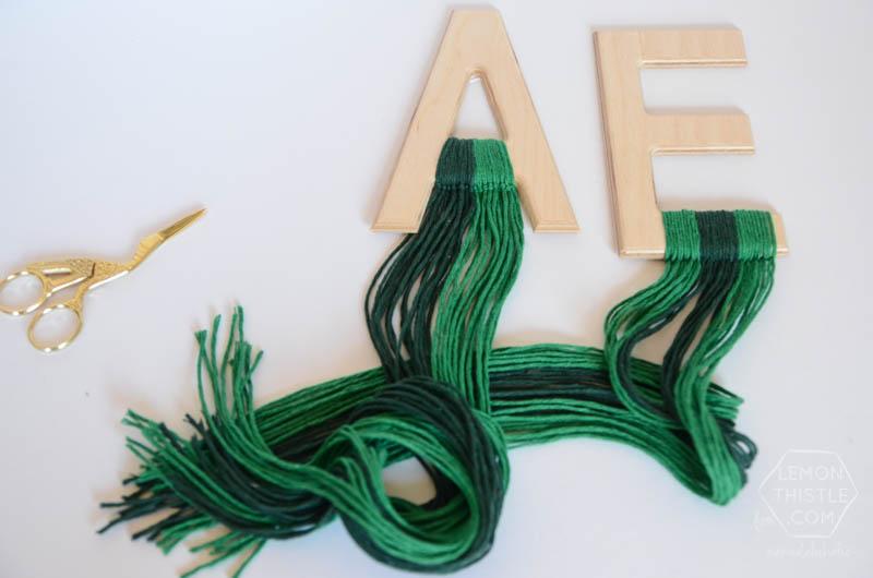 DIY Wood and Yarn Monogram Wall Hangings