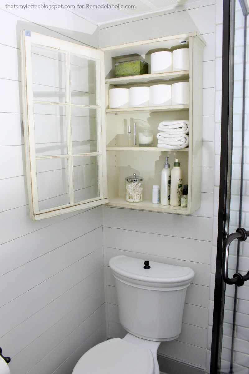 Remodelaholic bathroom storage cabinet using an old window for Under counter bathroom storage ideas