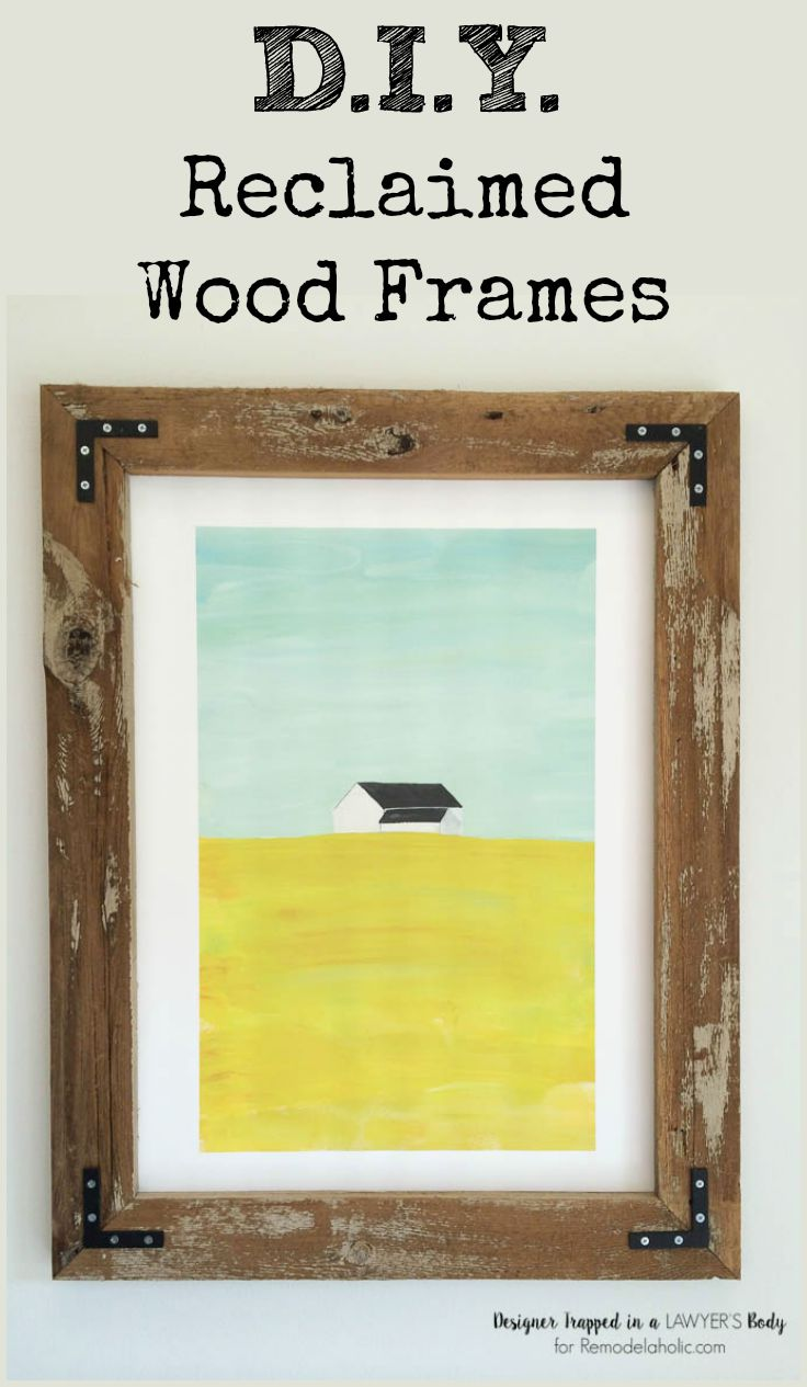 Build your own large rustic wood art frames for a fraction of what you'd pay in the store! Reclaimed wood looks wonderful with any kind of art.