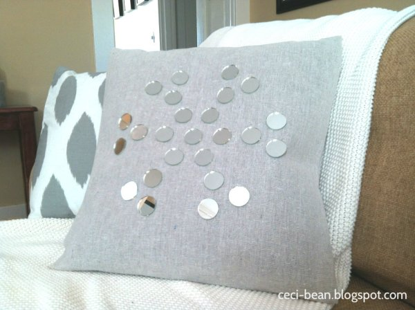 dropcloth mirror snowflake pillow
