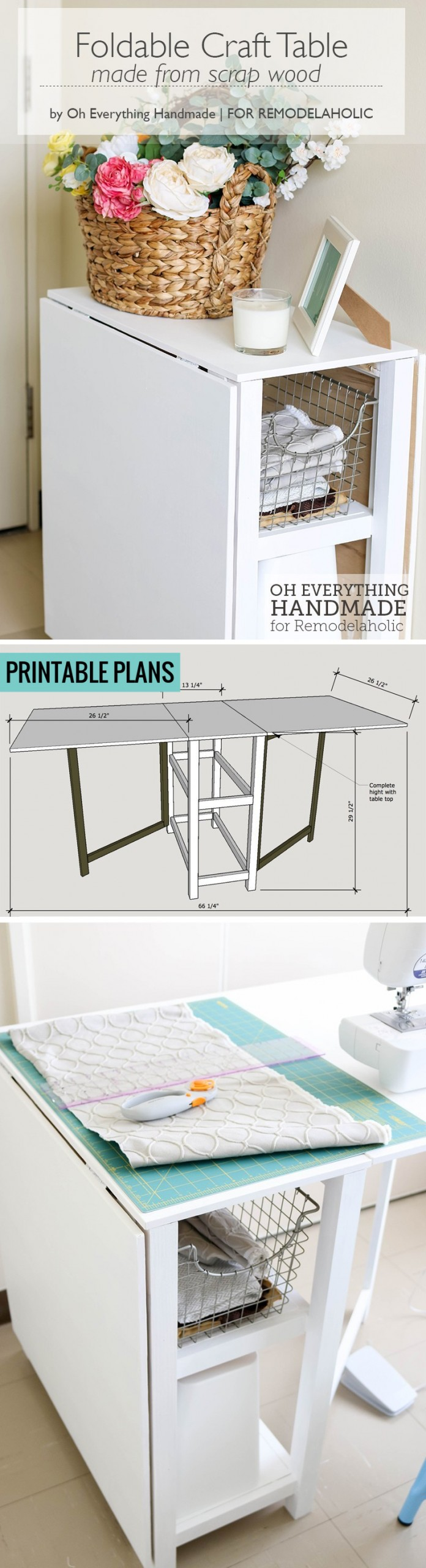 Folding Craft Table With Storage For Small Office Foldable Desk #remodelaholic