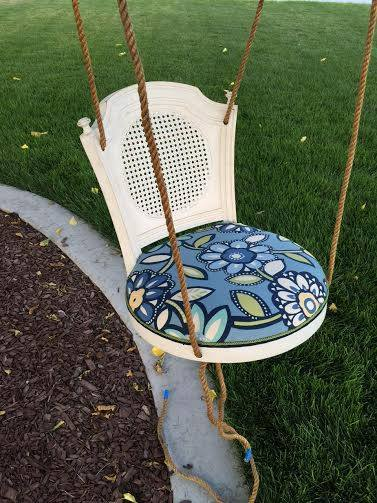 from Lori - turn a barstool into a padded outdoor swing and an end table (1)