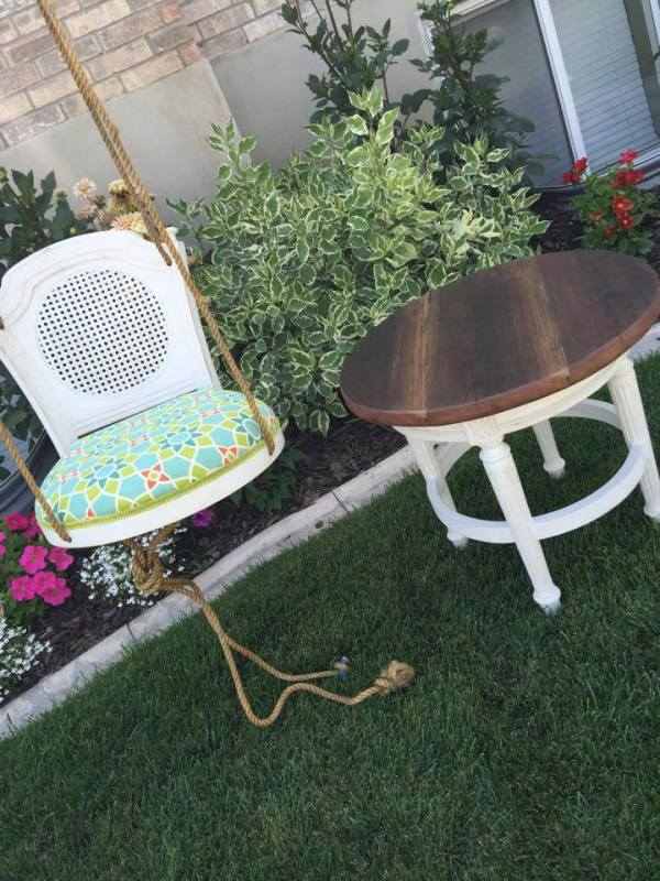 from Lori - turn a barstool into a padded outdoor swing and an end table (2)