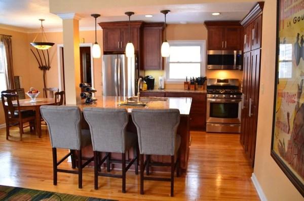 galley kitchen updated into open kitchen layout