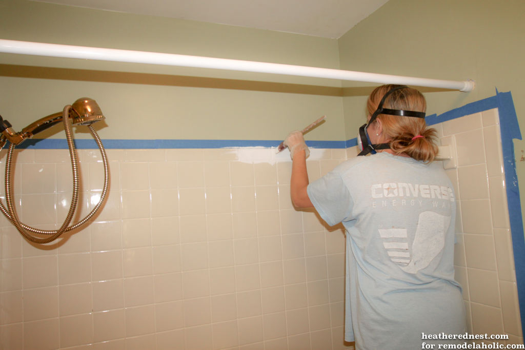 Remodelaholic How To Update A Tile Shower Tub In A Weekend - Dah tile
