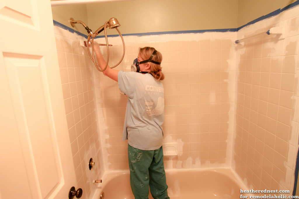 how to update a tile shower tub in a