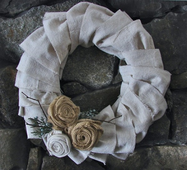 ruffled wreath from a dropcloth