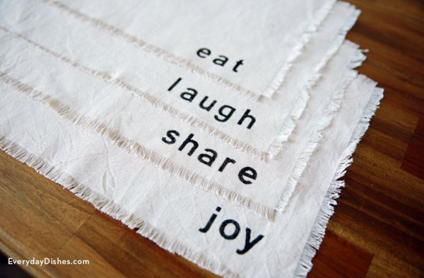 stenciled dropcloth placemats