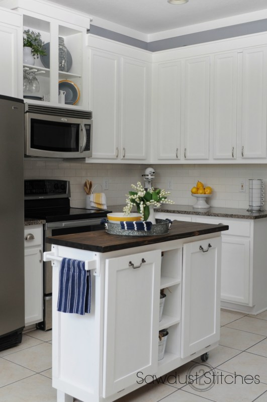 Corey Sawdust2Stitches white painted kitchen cabinets review after a year