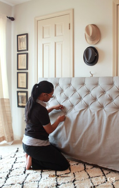 DIY Diamond Tufted headboard 2