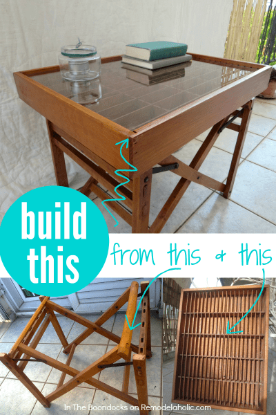 Great upcycle! Make a table from cast-off broken furniture -- an old director's chair -- and an old cassette tape organizer