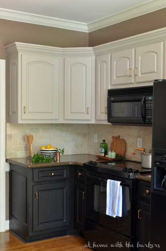 Sonya At Home with the Barkers diy two-tone painted kitchen cabinet review