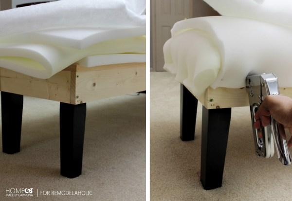 Upholster bench - HMC for Remodelaholic