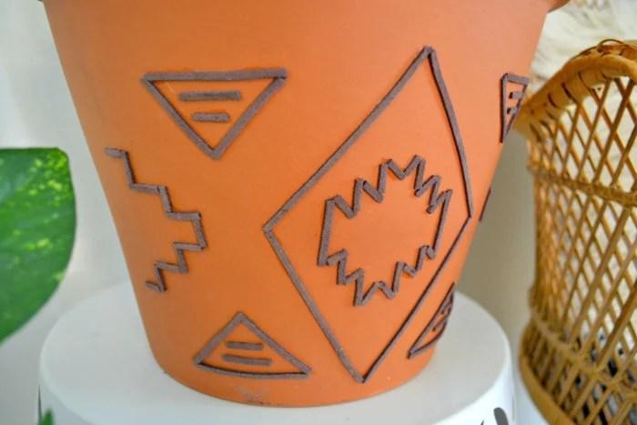 Tribal Inspired Suede Embellished Terracotta Planter