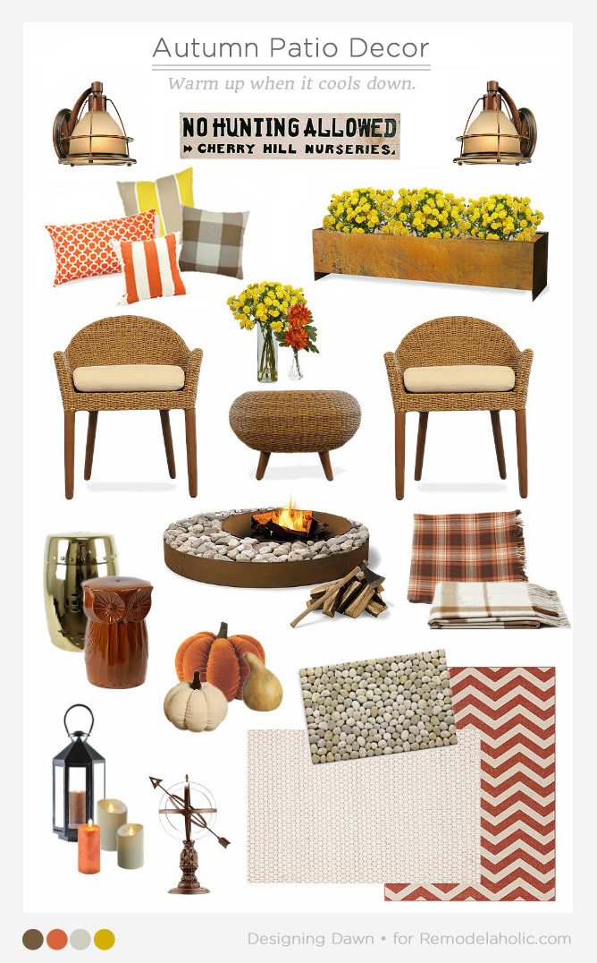 How to decorate your patio for autumn. Use these tips to create a cozy and inviting space, so you can enjoy your outdoor areas well into cool autumn evenings, and gain more livable space for at least three seasons a year.