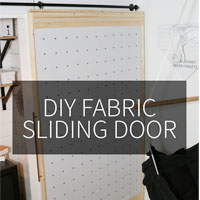 DIY Fabric Sliding Door on Petite Modern Life