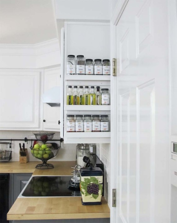 Easy spice rack for the empty end of cabinet space White Tulip Designs