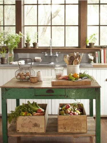 Farmhouse Kitchen Inspiration - chippy patina wood, love!