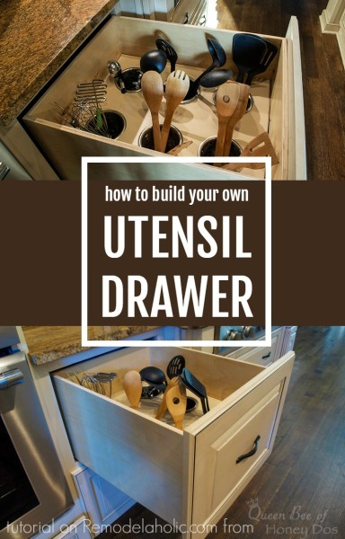 How to build your own upright deep drawer utensil organizer @Remodelaholic