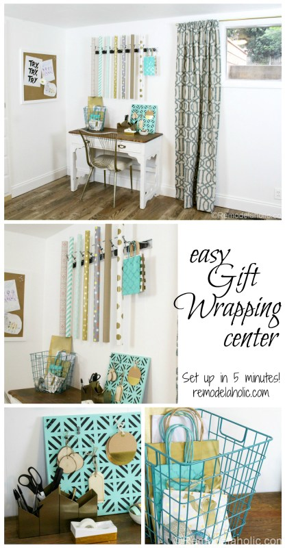 5 minutes and $20 (or less) is all you need to set up an easy DIY gift wrapping center, just in time for holiday gift giving!