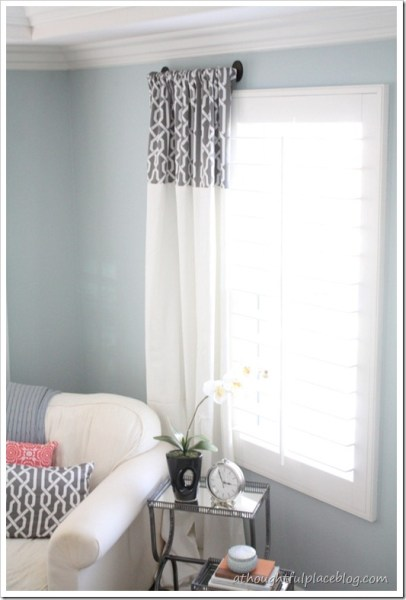 add patterned fabric to top of white curtains
