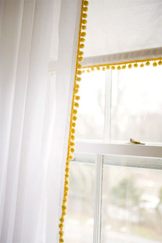 add pom pom trim white curtains shade