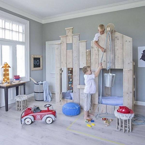 boys playhouse loft bed with window and door via bestkiddos