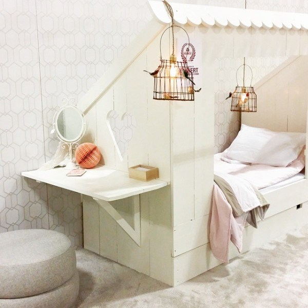 cottage bed nook for kids with built-in desk or vanity via bestkiddos
