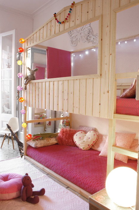 diy IKEA hack house bed playhouse from bunkbed via IKEA Hackers