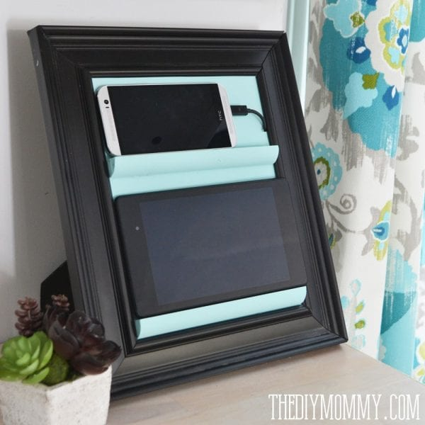 diy charging station frame tablet holder from the diy mommy on Remodelaholic
