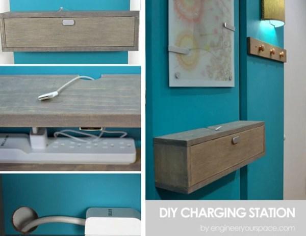 diy charging station wall mounted shelf