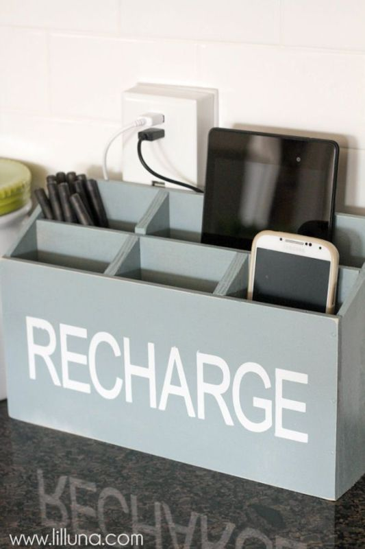 diy charging station wood