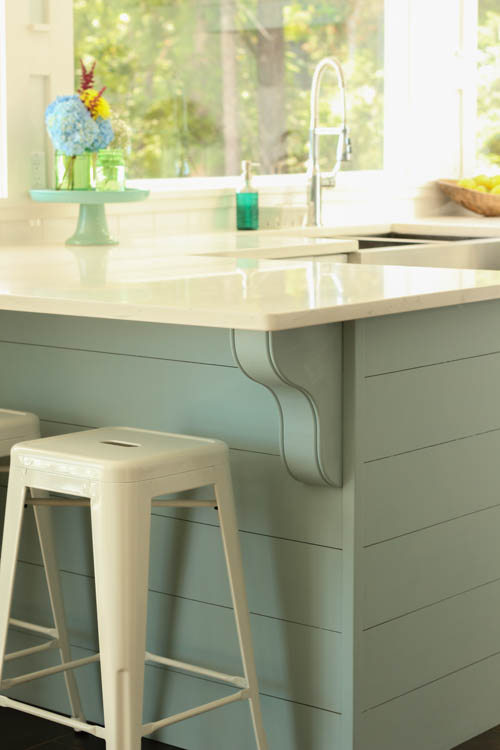 diy planked blue aqua kitchen island in a white coastal kitchen, The Happy Housie on @Remodelaholic